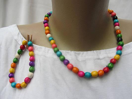 Бусы  детские с браслетом разноцветные
