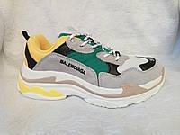 Женские кроссовки Balenciaga Triple s  серые с зеленым, желтым, фото 1