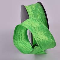 Лента декоративная из тафты жатка Цвет зеленый