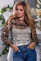 Нарядная женская блузка, бежево-черная с кофейной вышивкой, размер 42, 44, 46, 48