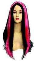 Парик Монстер Хай (Monster High) черный с ярко-розовыми прядями