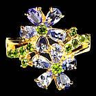 Серебряное позолоченное кольцо 925 пробы с натуральным танзанитом и хромдиопсидом Размер 17,5