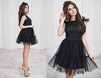 Платье фатиновое, нарядное, со свободной юбкой, черного цвета, размеры 42,44,46 код 3017Т