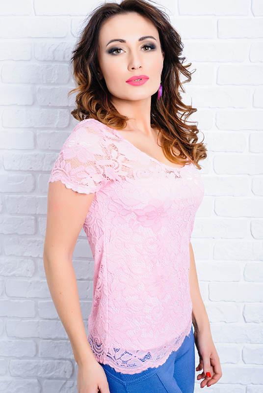 Нежно розовая блузка  -Кристина - гипюровая
