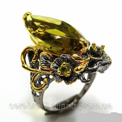 Серебряное кольцо ручной работы 925 пробы с натуральным лимонным кварцем Размер 18