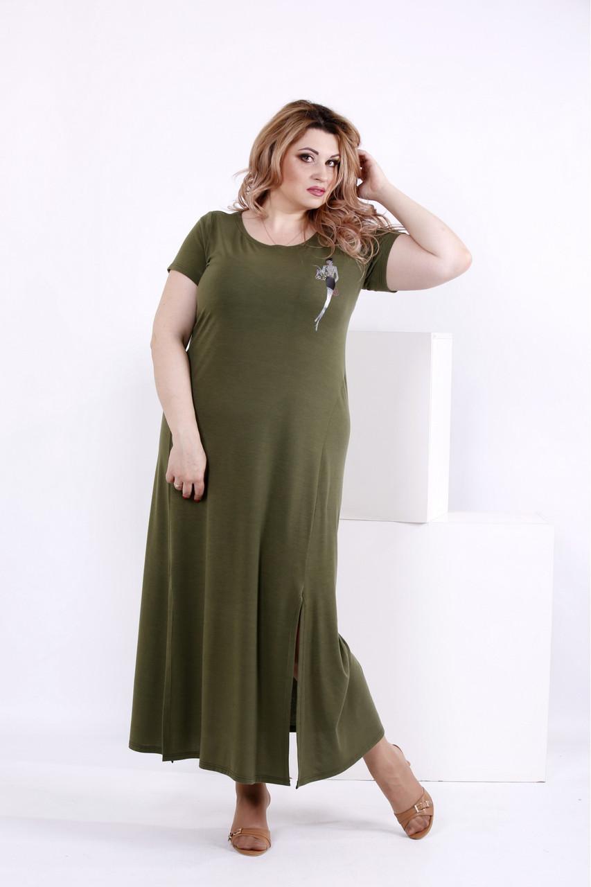 eeea0e55c98d8d3 Женское простое длинное платье цвета хаки 0850 / размер 42-74 / большие  размеры -