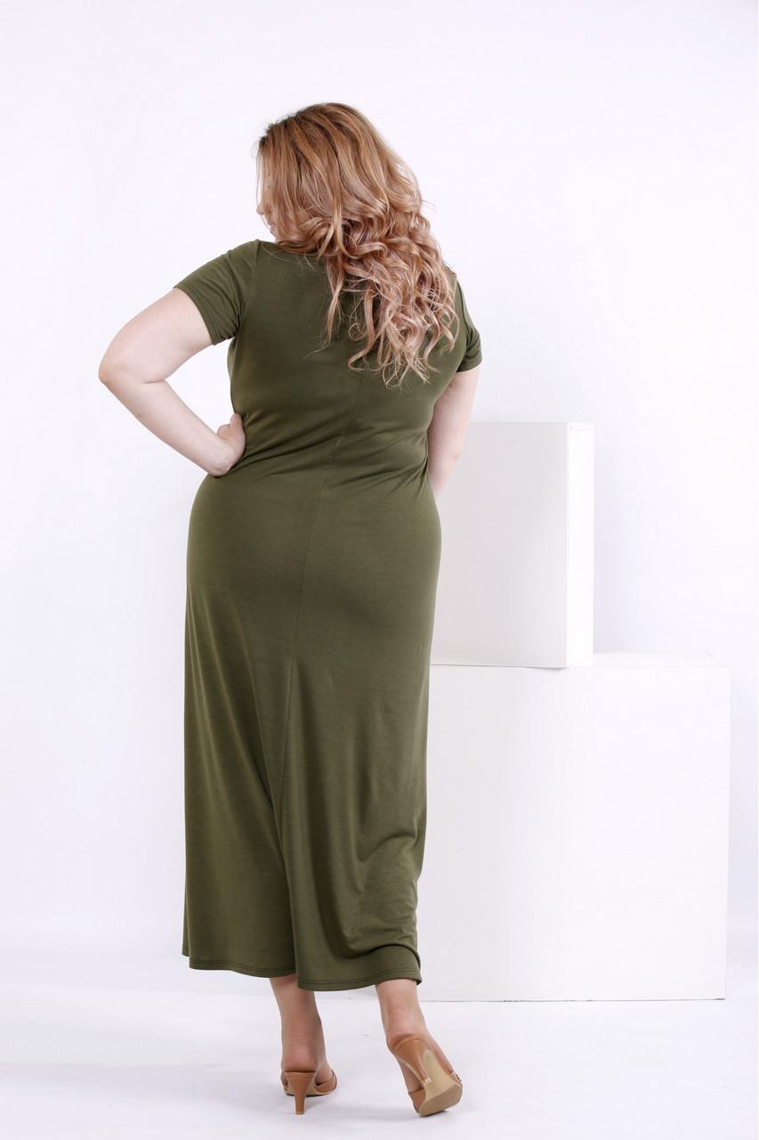 bfcddc6791300b9 Женское простое длинное платье цвета хаки 0850 / размер 42-74 / большие  размеры , цена 502,90 грн., купить в Киеве — Prom.ua (ID#719243419)