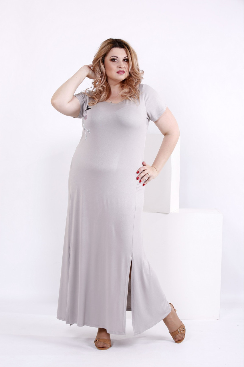3cbe252e1107c24 Женское простое длинное платье цвет серый 0850 / размер 42-74 / большие  размеры -