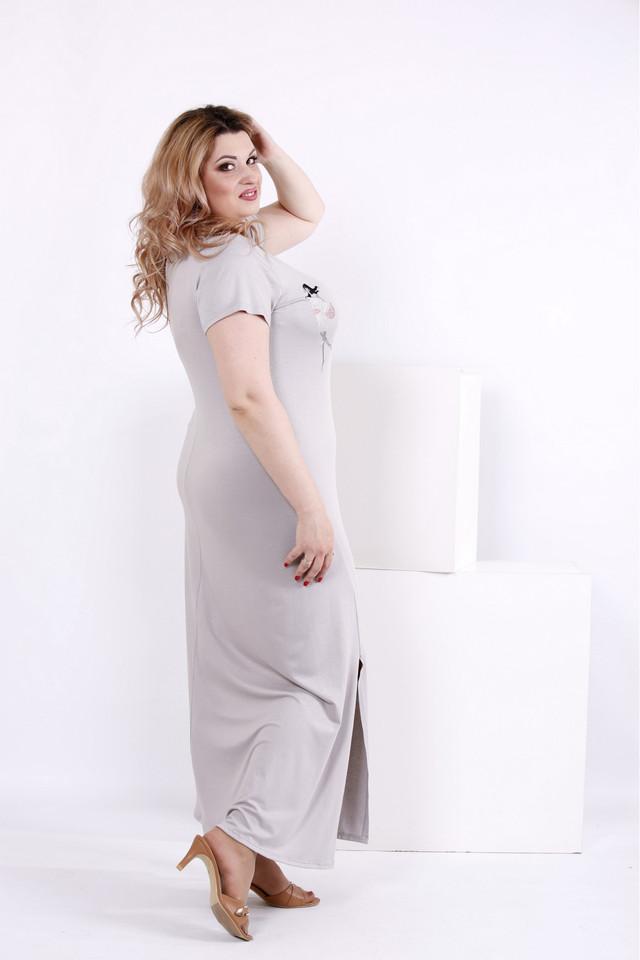 5f9e19d8f3caa41 Женское простое длинное платье цвет серый 0850 / размер 42-74 ...
