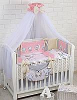 Комплект постельного белья Asik Мишки на луне розового цвета 8 предметов (8-290)