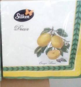 """Декоративная салфетка Silken 3-сл. """"Лимони"""" с печатью 18шт 33*33см 1/4"""