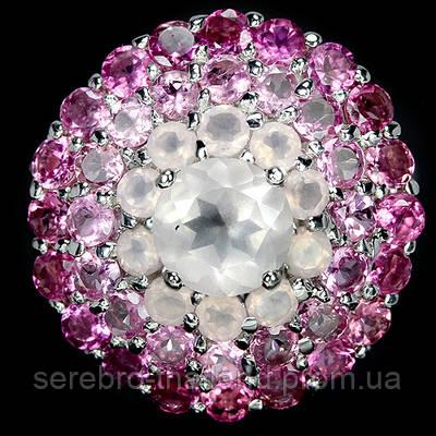 Серебряное кольцо 925 пробы с натуральным розовым кварцем и турмалином Размер 18,5