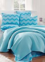 Постельное белье Eponj Home Paint Pike ZigZag mavi голубое евро размер
