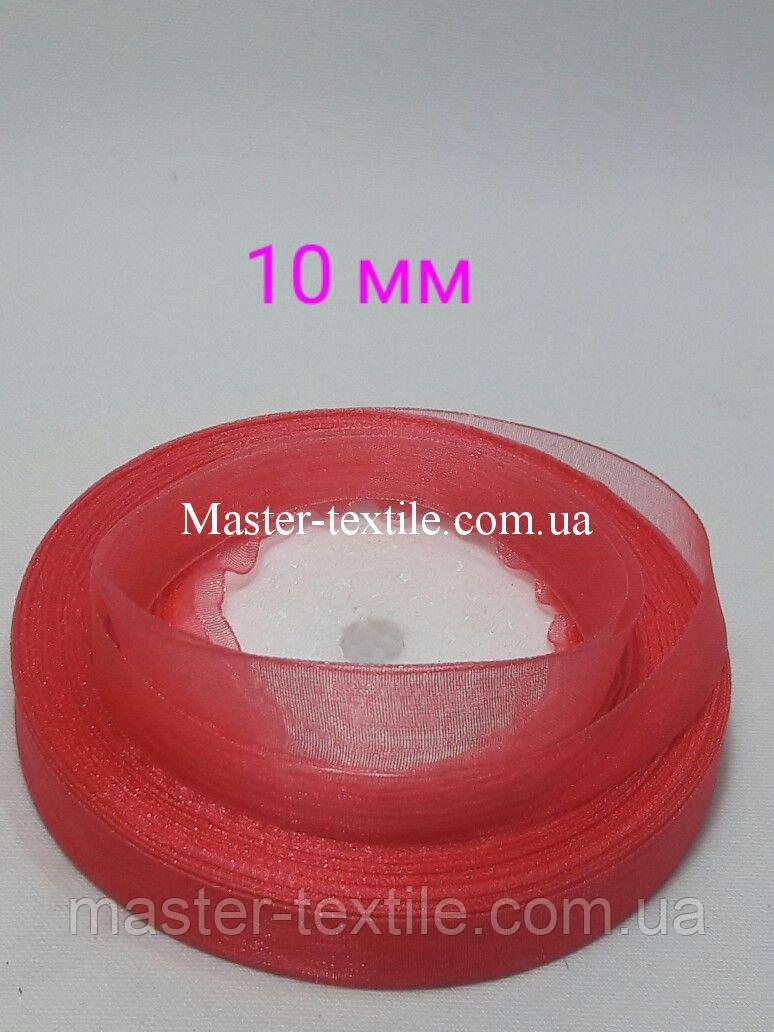 Лента из Органзы 10 мм., бобина 45 м., красный