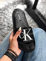 Мужские шлепанцы\сланцы Calvin Klein Slippers Black (Реплика AAA+)