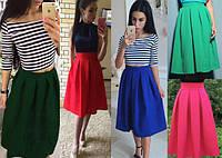 Женская юбка Миди в складку из габардина размеры 42 по 48, фото 1