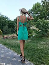 Летнее платье мини по фигуре на бретелях спина открытая цвет изумрудный, фото 3