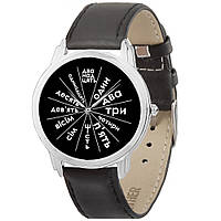 Мужские наручные часы Letters style black AW 1421 на чёрном ремешке (экокожа) + деревянная коробка в подарок