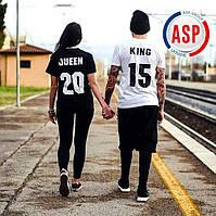 Парные футболки для влюбленных king queen фамилией номером логотипом на заказ