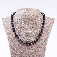 Бусы из натурального камня черный Агат (пресс) гладкий шарик d-10мм L-46см