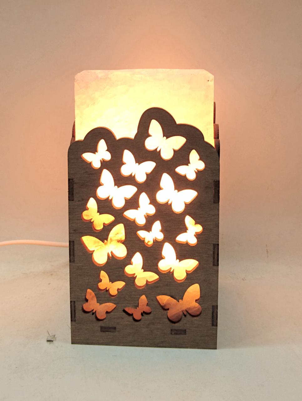 Соляной светильник  Прямоугольник в дереве Бабочки большой
