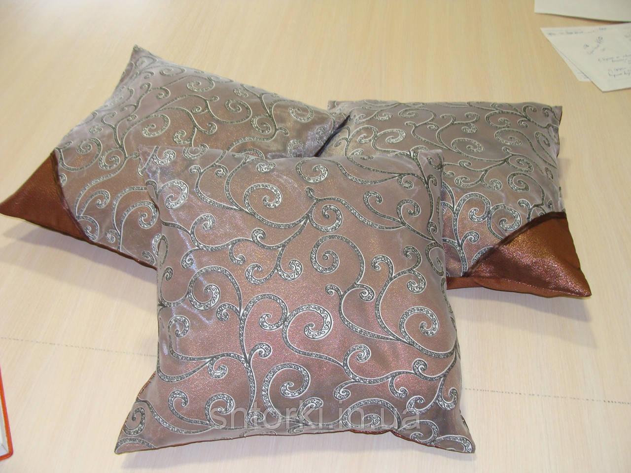 Комплект подушек Завитки коричневые, 3шт