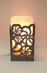Соляной светильник  Прямоугольник в дереве Вьюнок большой