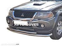 Защита переднего бампера для Mitsubishi Pajero Sport I (п.к. ТТК)