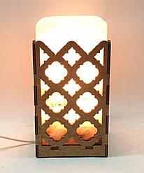 Соляной светильник  Прямоугольник в дереве Ромбы большой