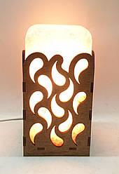 Соляной светильник  Прямоугольник в дереве Капли большой