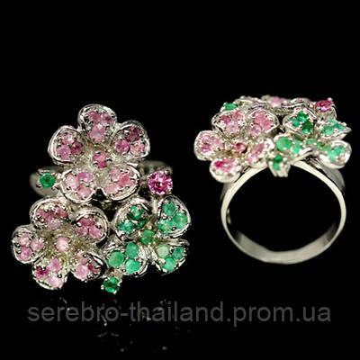"""Серебряное кольцо 925 пробы с натуральным розовым сапфиром и изумрудом """"Цветок Эдема"""" Размер 17,5"""