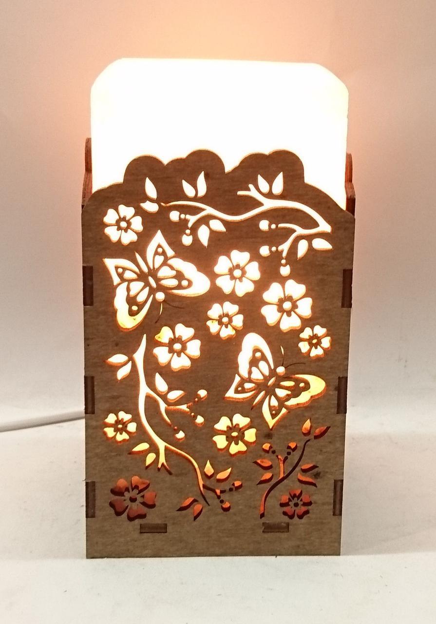 Соляний світильник Прямокутник в дереві Гілка