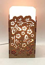Соляной светильник  Прямоугольник в дереве Ветка
