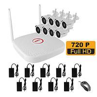 WiFi комплект беспроводного видеонаблюдения на 8 камер 1 Мп на 400 метров LONGSE WIFI2008PG1S100