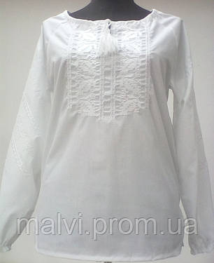 Вишиванка для дівчинки Білий орнамент довгий рукав Батист  продажа ... bf34051ec56fd