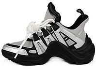 Женские кроссовки Louis Vuitton Sci-Fi LV Archlight Black/White/Silver (Луи Витон, серые)