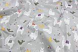 "Ткань хлопковая ""Ламы"" на сером фоне (№1351а)., фото 6"