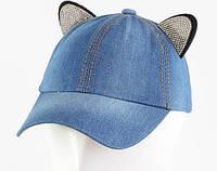 Детская джинсовая кепка кошка, фото 1