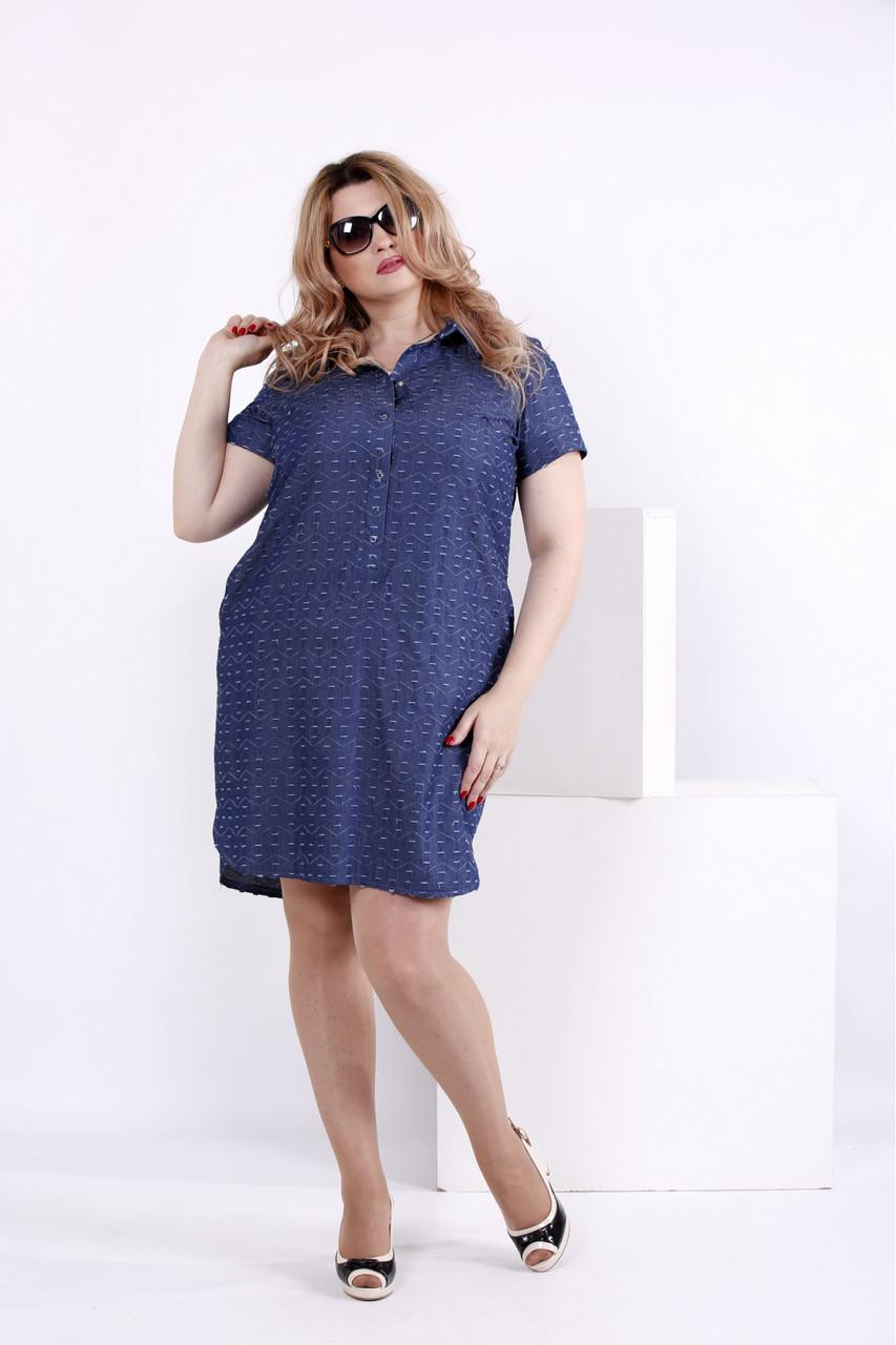 Женское платье мини с принтом волна 0846 / размер 42-74 / большие размеры