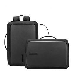 Рюкзак-сумка городской для ноутбука черный (Реплика)