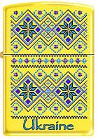 Зажигалка ZIPPO 24839-UP с украинским орнаментом желто - синяя вышиванка
