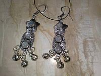 Индийские серьги с лунным камнем в серебре. Серьги - натуральный лунный камень!