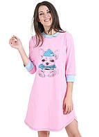 Теплая ночная сорочка женская с собакой Чихуа (ночнушка) хлопковая с начесом байковая пижама розовая 44