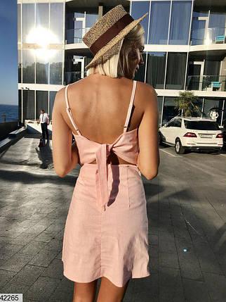 Летнее платье короткое без рукав по фигуре спина завязывается персиковое, фото 2
