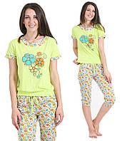 Футболка и бриджи пижама женская салатовая хлопковая домашний комплект