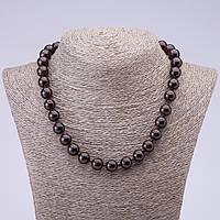 Бусы натуральный камень Гранат альмандин гладкий шарик d-12мм L -45см