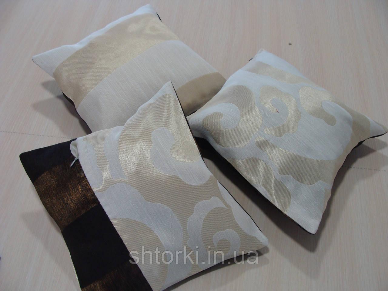 Комплект подушек коричневый и кремовый узор, 3шт