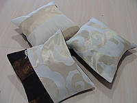 Комплект подушек коричневый и кремовый узор, 3шт, фото 1