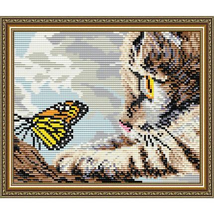"""АТ5603 Набор в алмазной технике """"Котенок и бабочка"""", фото 2"""