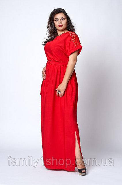 57210833c1d Летнее женское платье из штапеля с гипюровыми вставками больших размеров.